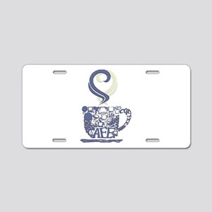 Coffee Cup Art Aluminum License Plate