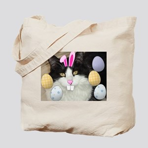 Easter Longhaired Black and White Kitty Cat Tote B