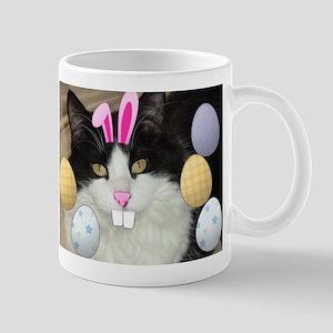 Easter Longhaired Black and White Kitty Cat Mug