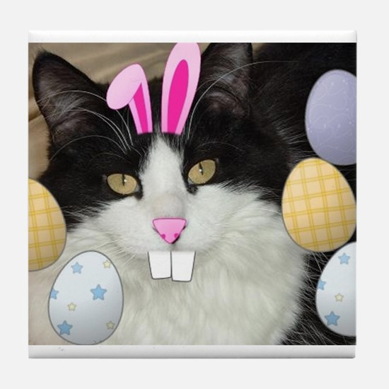 Easter Longhaired Black and White Kitty Cat Tile C