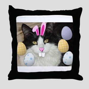 Easter Longhaired Black and White Kitty Cat Throw