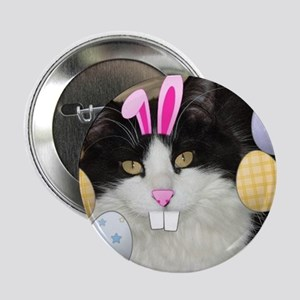 Easter Longhaired Black and White Kitty Cat 2.25""