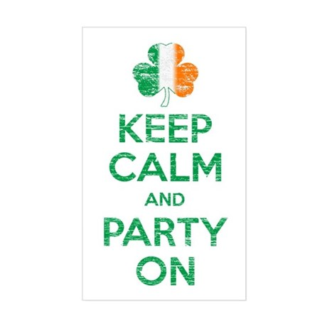 Keep Calm And Party On Irish Flag Shamrock Sticker