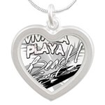 Beach Surf Silver Heart Necklace