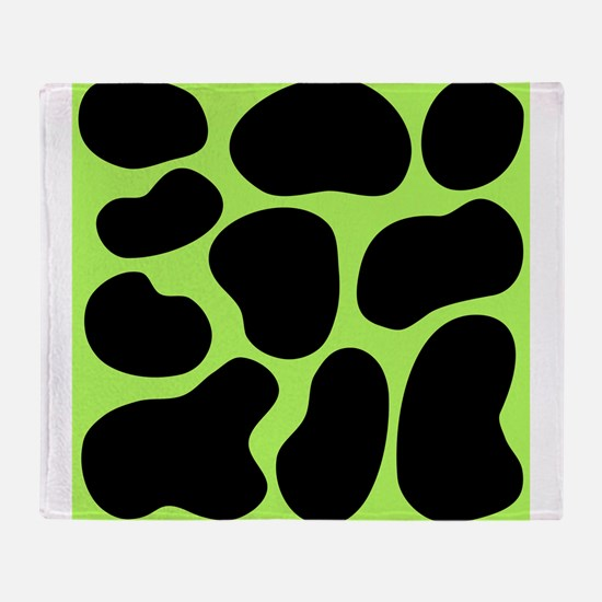 Black and Green Cow Print. Throw Blanket