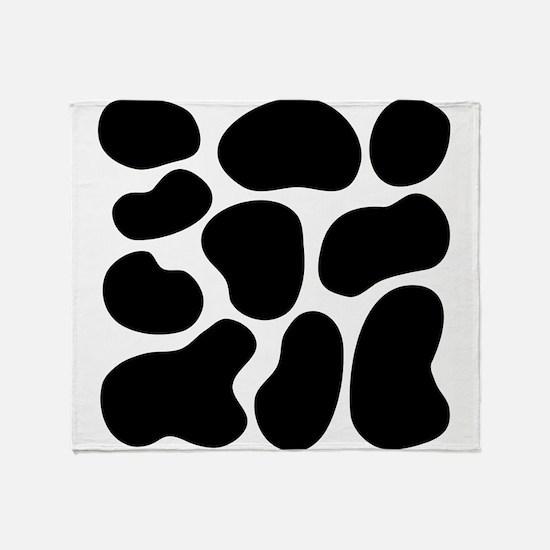 Black Cow Print. Throw Blanket