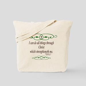 Philippians 4 13 Bible Verse Tote Bag