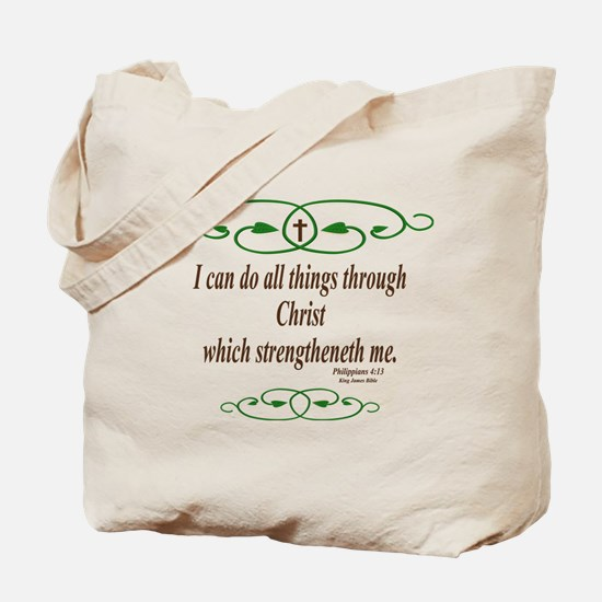 Philippians 4 13 Bible Verse Tote Bag