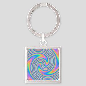 Colorful Swirl Design. Square Keychain