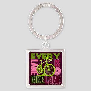 Every Lane Is A Bike Lane Square Keychain
