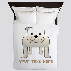 Bulldog and Text. Queen Duvet