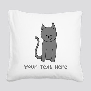Dark Gray Cat and Text. Square Canvas Pillow