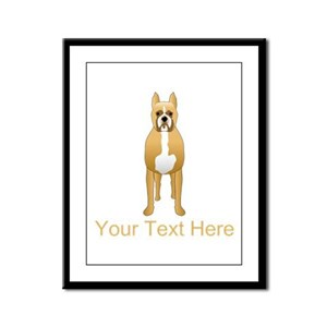 Boxer Dog and Custom Text. Framed Panel Print