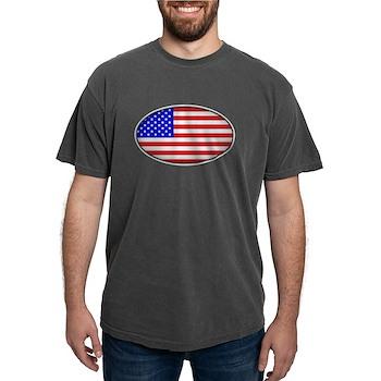 Oval American Flag Mens Comfort Colors Shirt