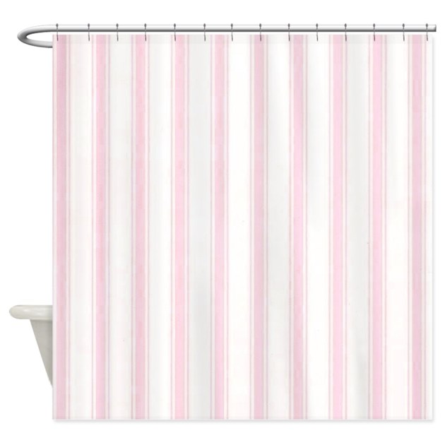Shabby Pink White Stripes Shower Curtain By