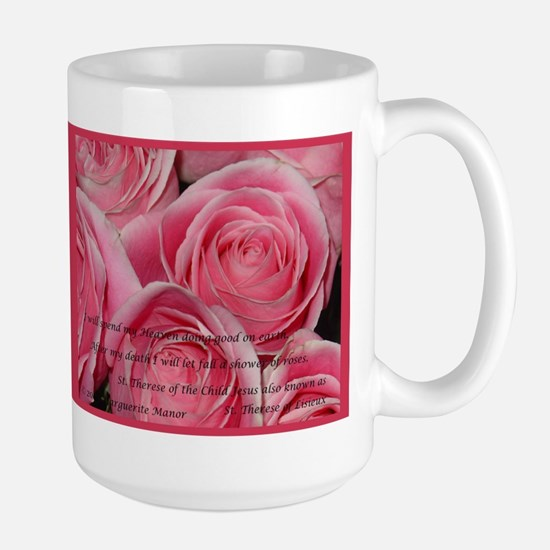 Shower of Roses, St. Therese Large Mug