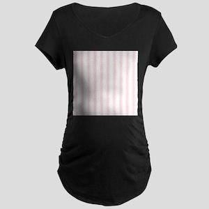 Shabby Pink White Stripes Maternity T-Shirt