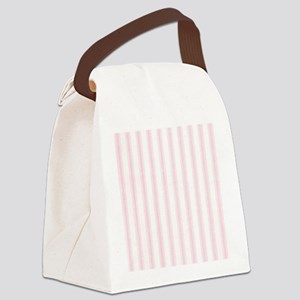 Shabby Pink White Stripes Canvas Lunch Bag