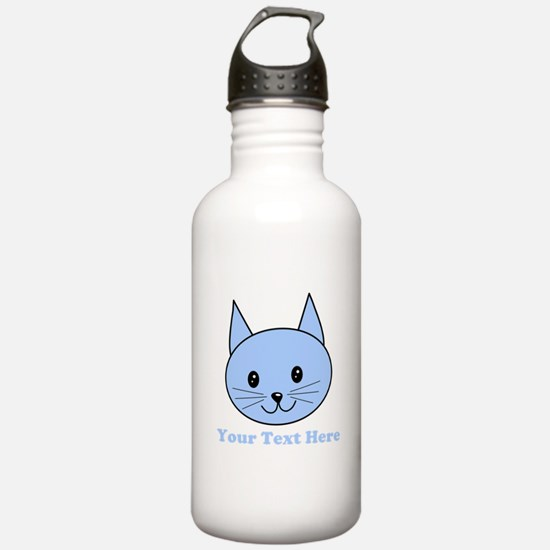 Blue Cat and Custom Text. Water Bottle