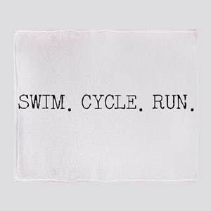 Swim Cycle Run Throw Blanket
