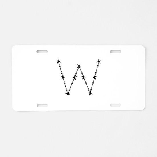 Barbed Wire Monogram W Aluminum License Plate