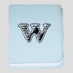 Scribbled Monogram W baby blanket