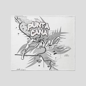 Punta Cana Bavaro Map Throw Blanket