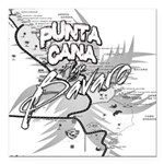 Punta Cana Bavaro Map Square Car Magnet 3