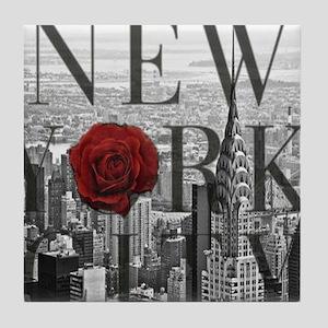 NY Skyline Rose Tile Coaster