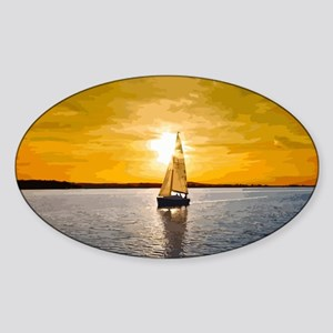 Sailing into the sunset Sticker (Oval)