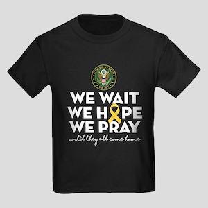 Army We Wait Hope Pray Kids Dark T-Shirt