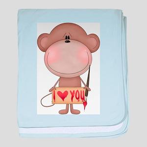 I love you- monkey baby blanket