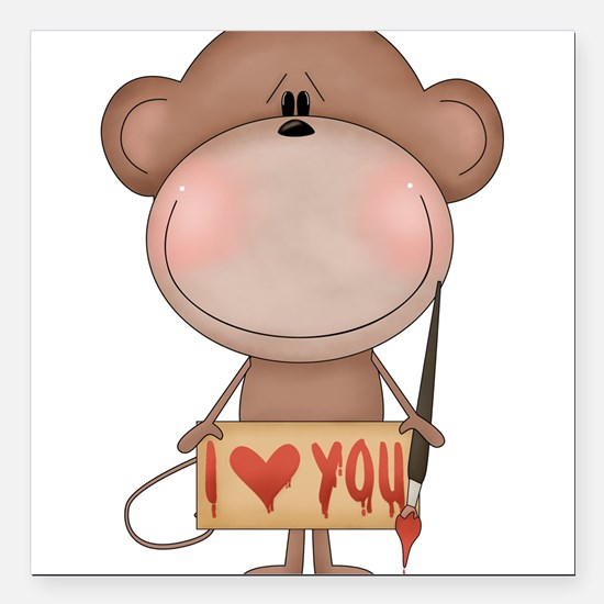 "I love you- monkey Square Car Magnet 3"" x 3"""