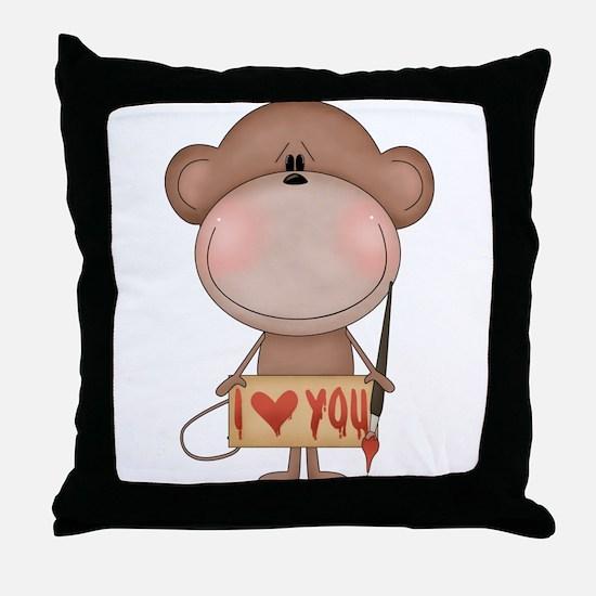 I love you- monkey Throw Pillow