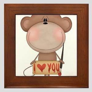 I love you- monkey Framed Tile