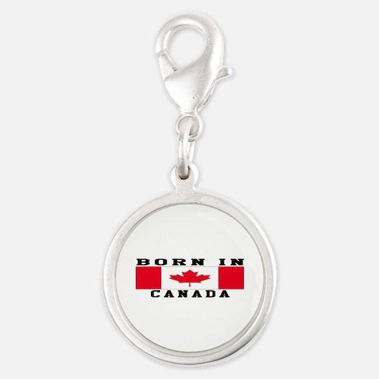 Born In Canada Silver Round Charm