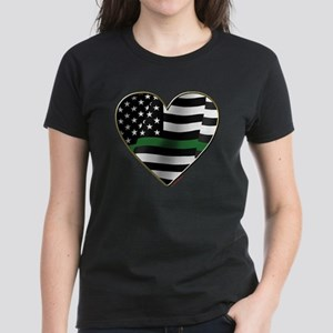 thin green line flag heart T-Shirt