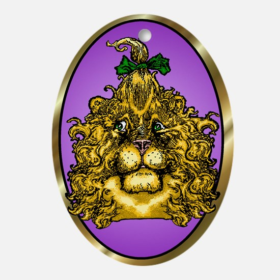 The Cowardly Lion Purple Oval Ornament