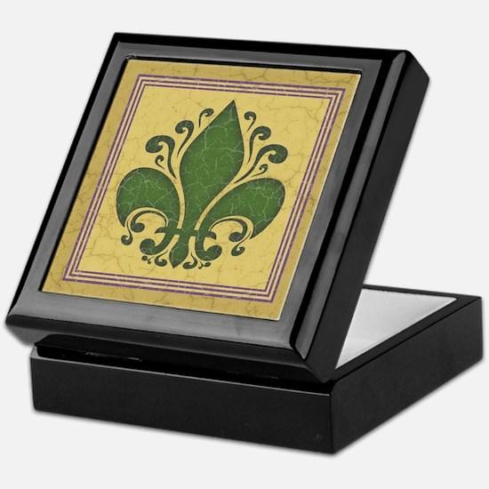 Fleur de Lis -Green Keepsake Box