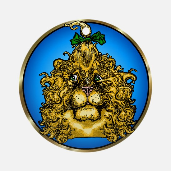 The Cowardly Lion Blue Round Ornament