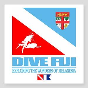 "Dive Fiji Square Car Magnet 3"" x 3"""