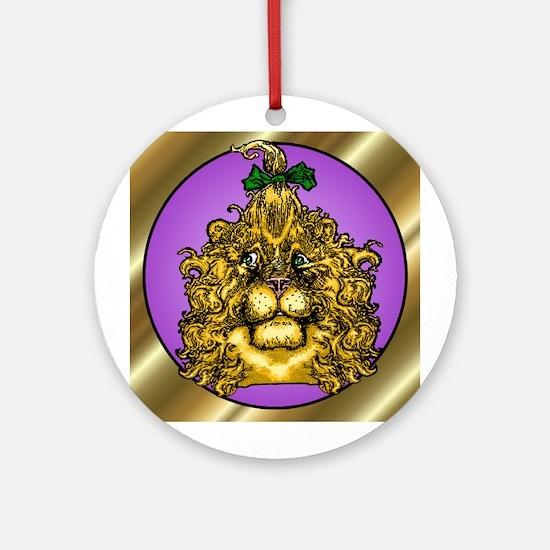 The Cowardly Lion Purple Round Ornament