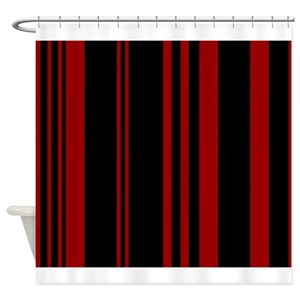 Maroon Stripes Shower Curtains