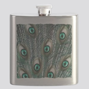 peacock feathers art illustration Flask
