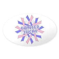 Male Breast Cancer Sucks Sticker (Oval)