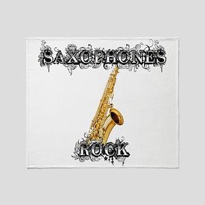 Saxophones Rock Throw Blanket