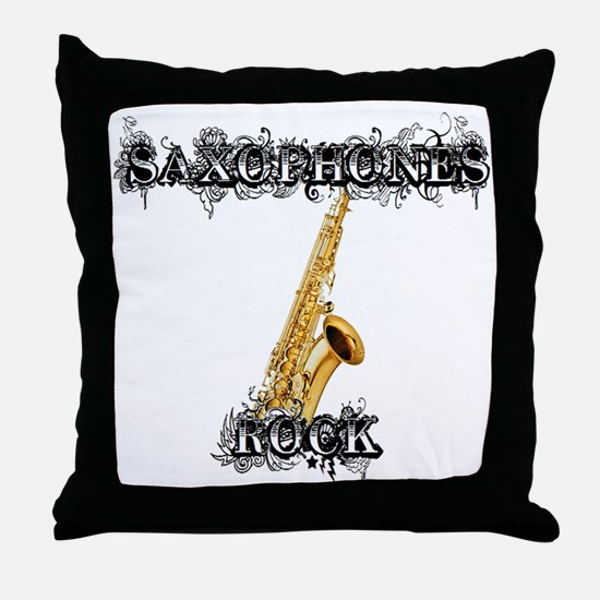 Saxophones Rock Throw Pillow