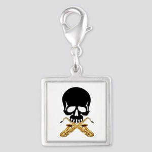 Skull with Saxophones Silver Square Charm