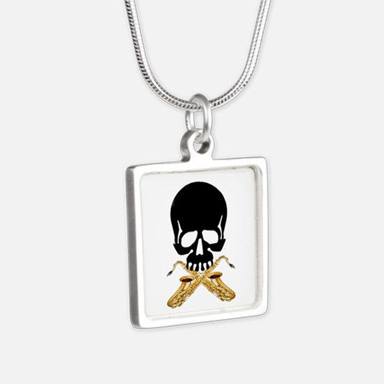 Skull with Saxophones Silver Square Necklace