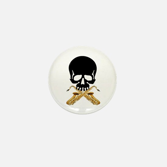 Skull with Saxophones Mini Button